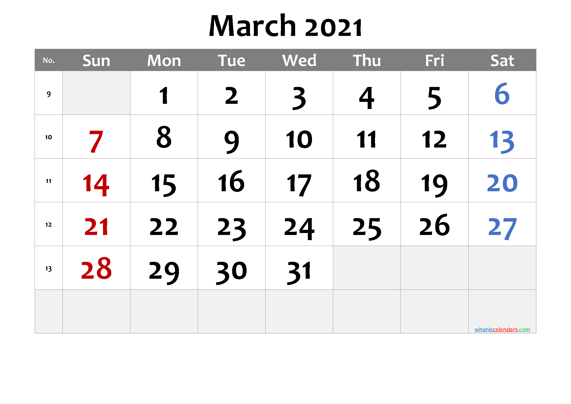 March 2021 Printable Calendar Free Premium In 2020
