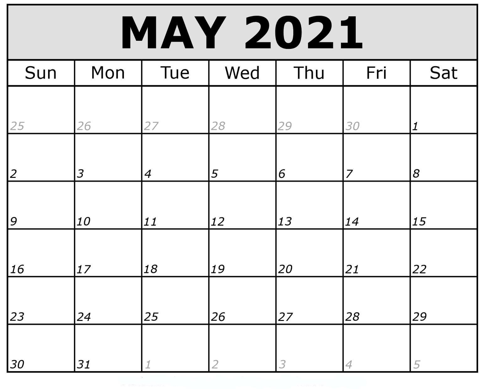 May 2021 Calendar Printable Pdf Mycalendarlabs 1