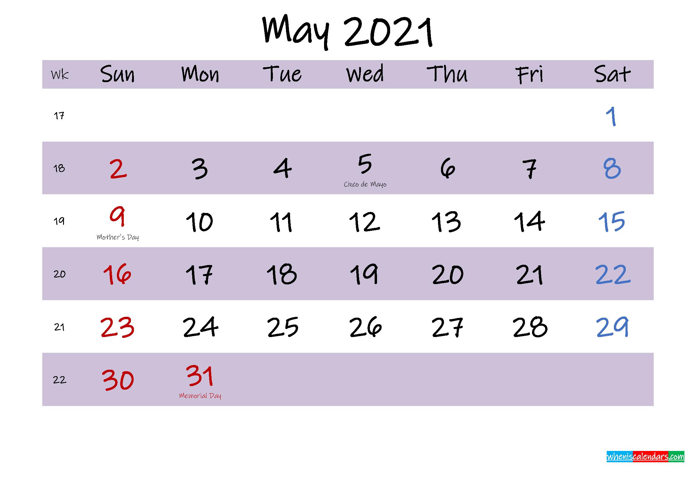 may 2021 calendar with holidays printable template no