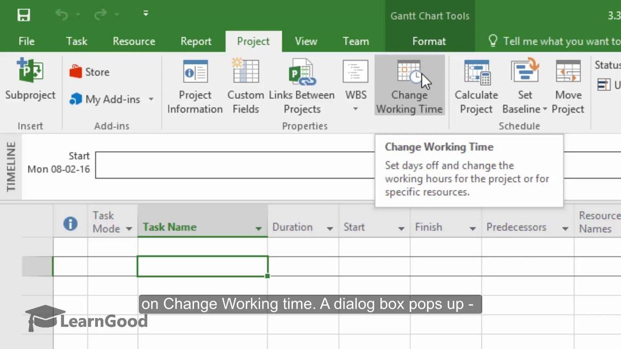 Microsoft Project 2016 Managing Calendars 13 100 Youtube