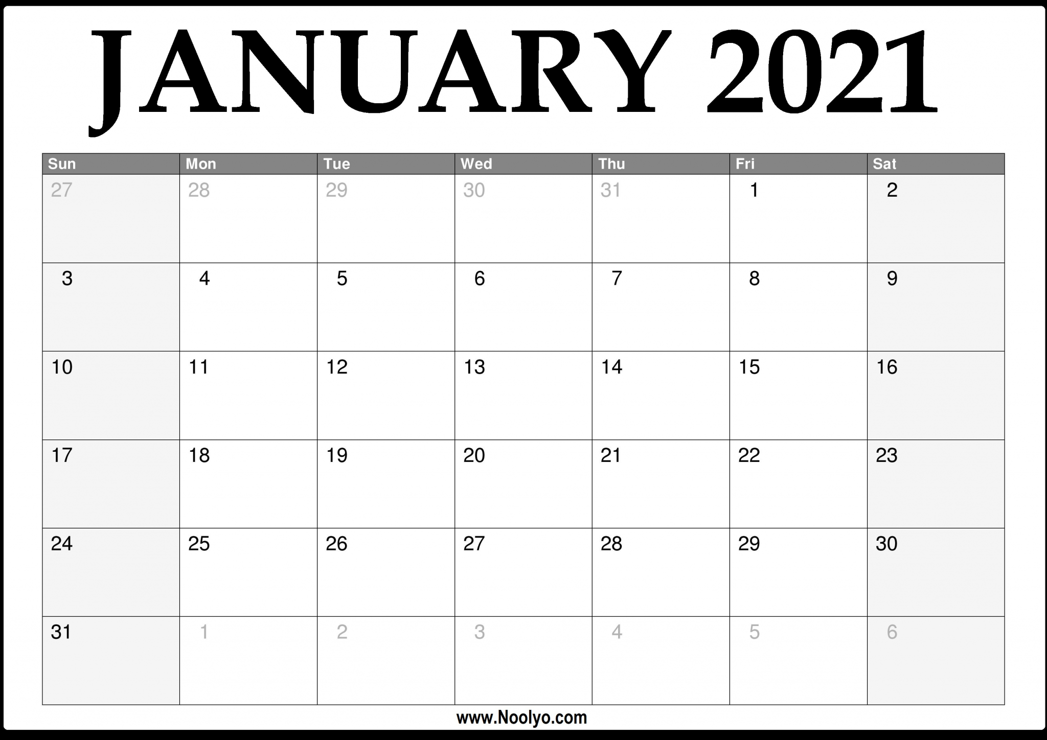 Monthly 2021 Printable Calendar Calendar 2020