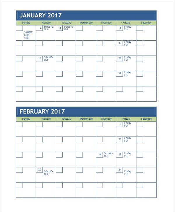 Monthly Calendar Template 14 Free Word Pdf Format