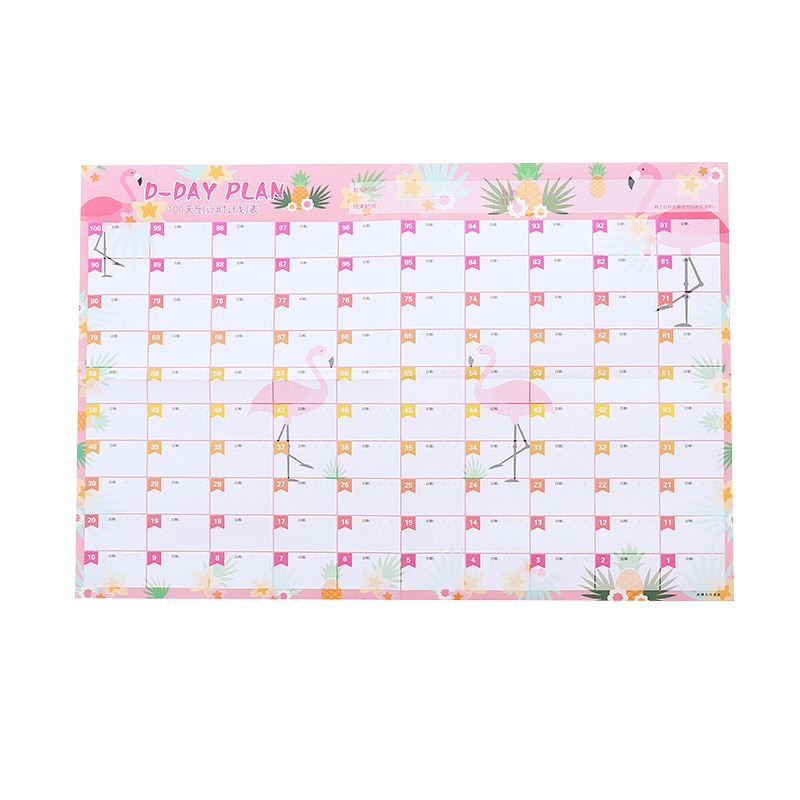 New Superdeal 100 Day Countdown Calendar Learning Schedule