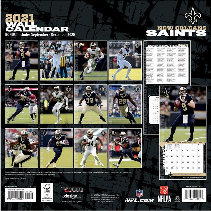 Nfl Wall Calendar New Orleans Saints 2021 30 X30 Cm Eur 1900