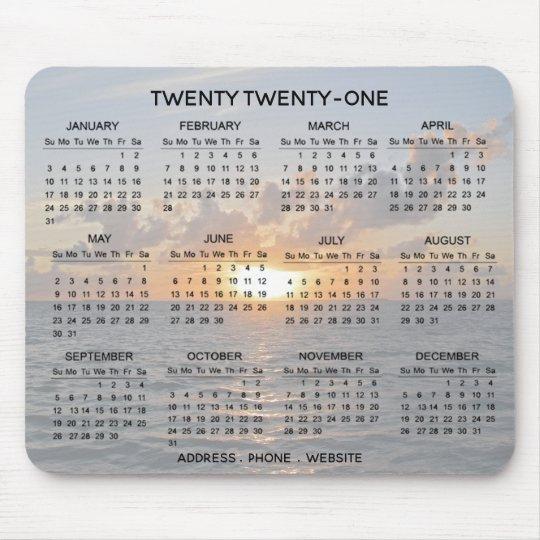 Ocean Sunset Promotional 2021 Calendar Mousepad Zazzle Ca