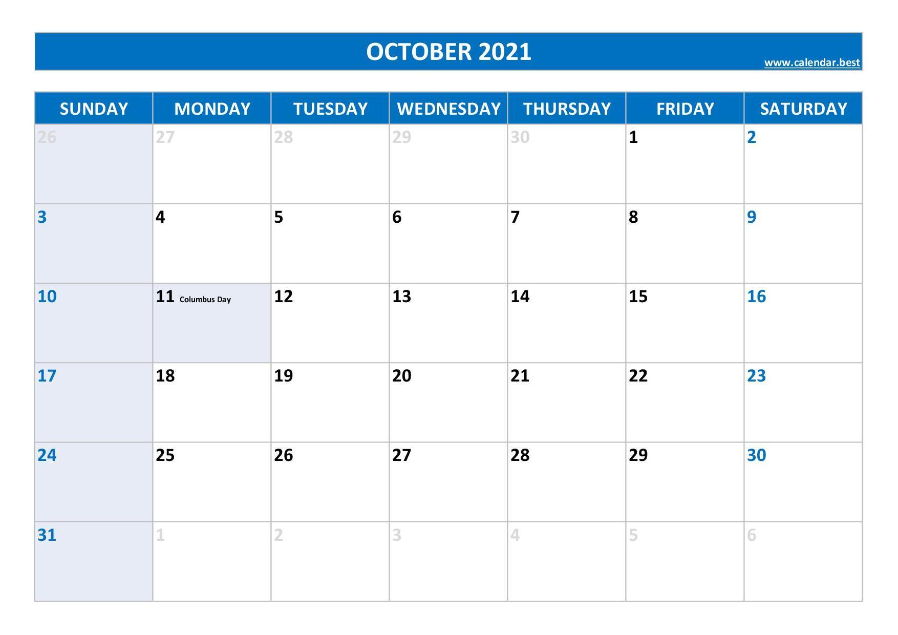 October 2021 Calendar Calendar Best