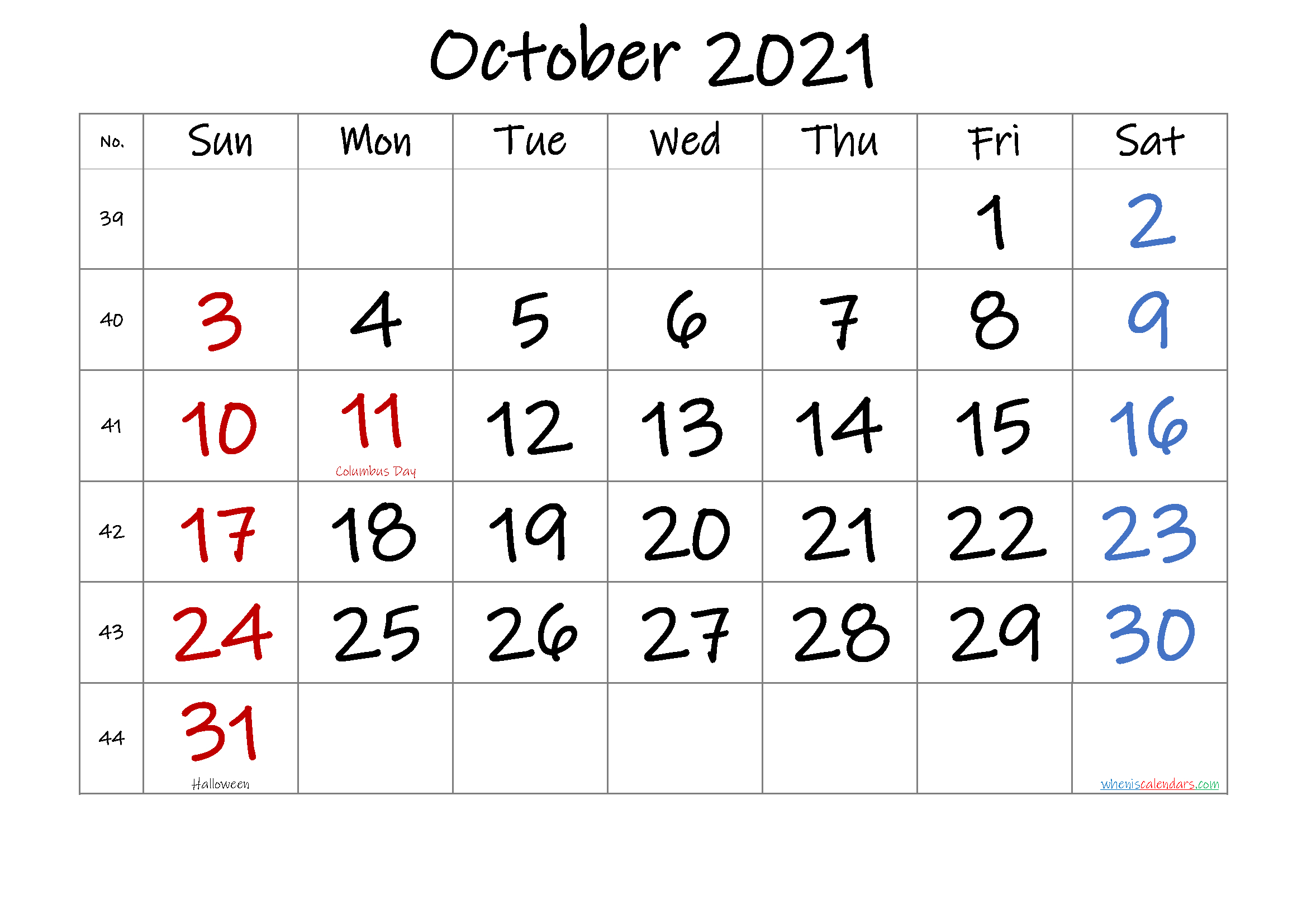 October 2021 Printable Calendar With Holidays Free