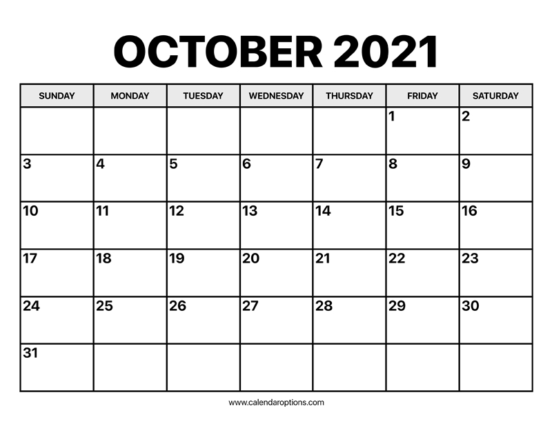 October Calendar 2021 Calendar Options