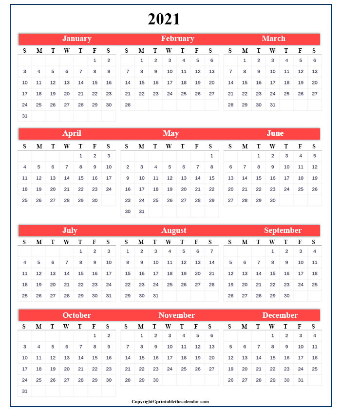 One Page Calendar 2021 Free Printable Template