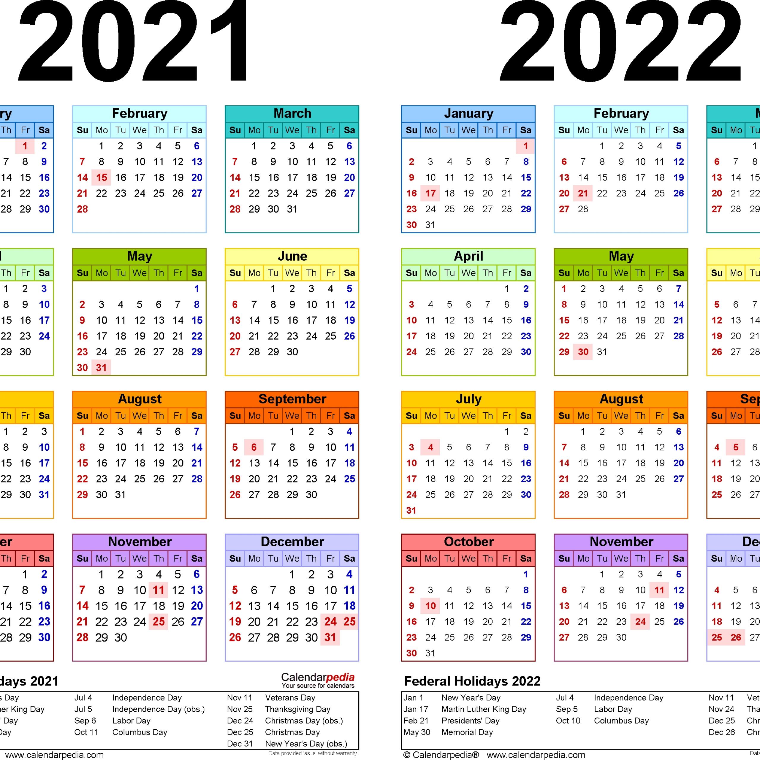 Online Printable Calendar 2021 2 Years Avnitasoni