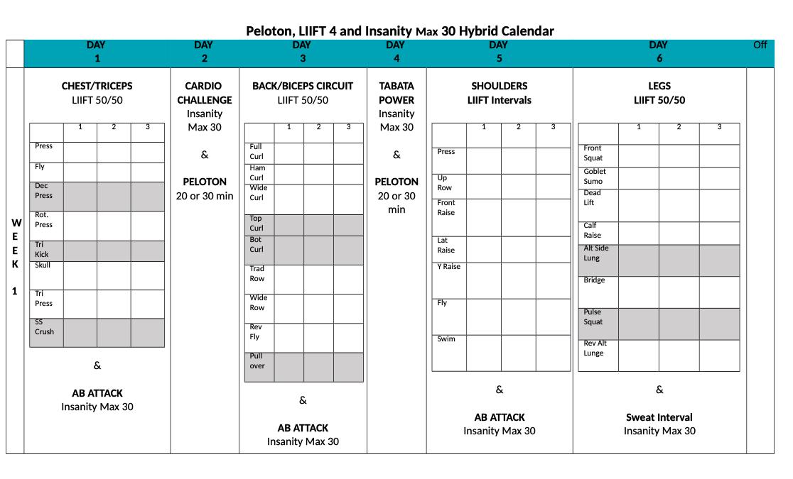 Peloton Insanity And Liift4 Hybrid Workout Calendar Dowload Pdf