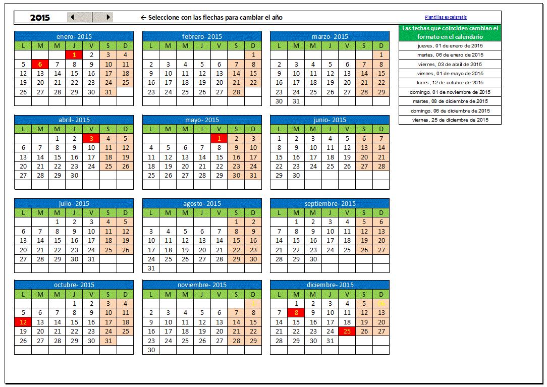 Plantilla Calendario Excel Gratis