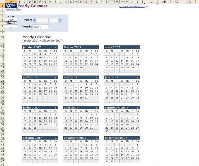 Plantilla De Calendario Anual En Excel Descargar