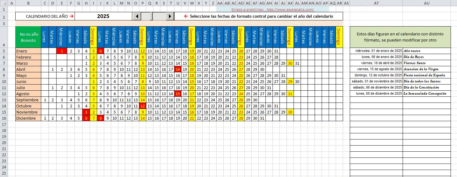 Plantilla De Calendario Mensual Horizontal Excel Gratis