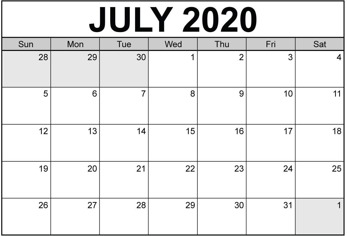 Print Calendar For July 2020 Daily Planner Template Web