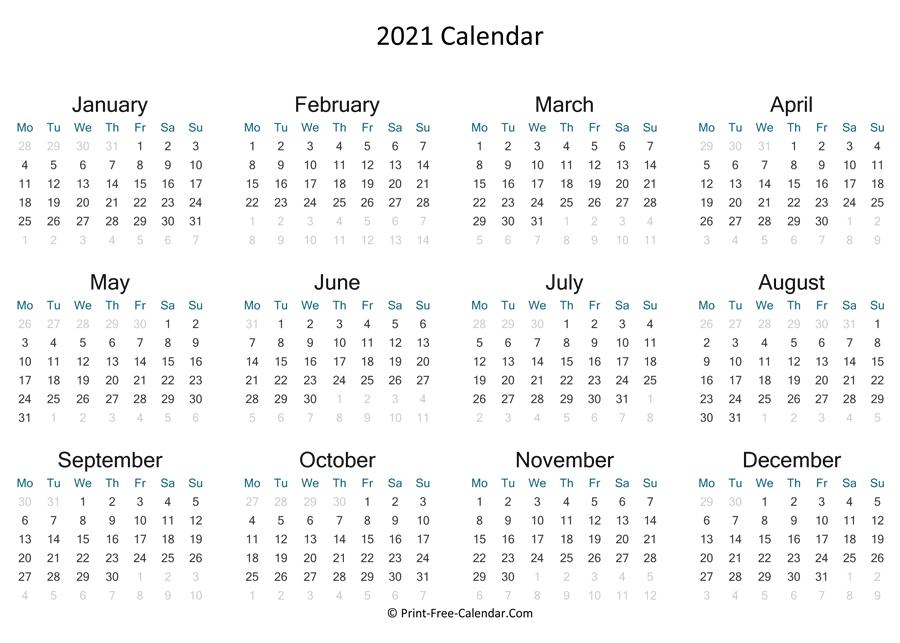 Print Free Calendar 2021