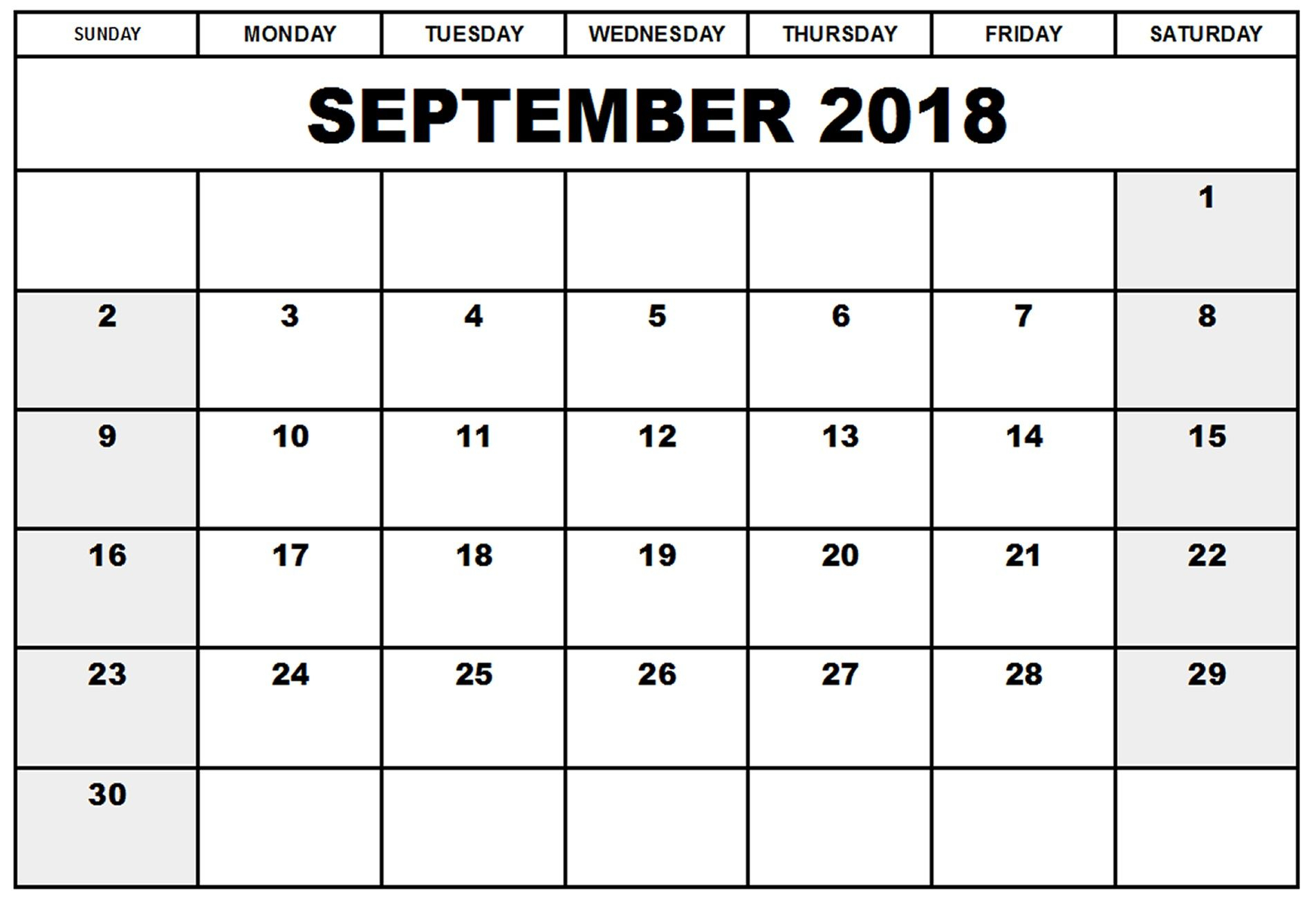 Print September 2018 Calendar Printable Monthly Template