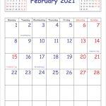 Printable 2021 Calendar February Vertical Layout