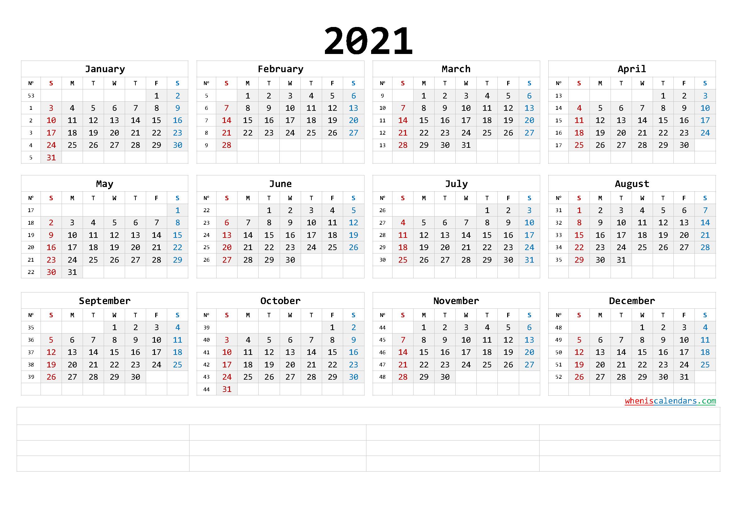 Printable 2021 Calendar Templates Calendraex