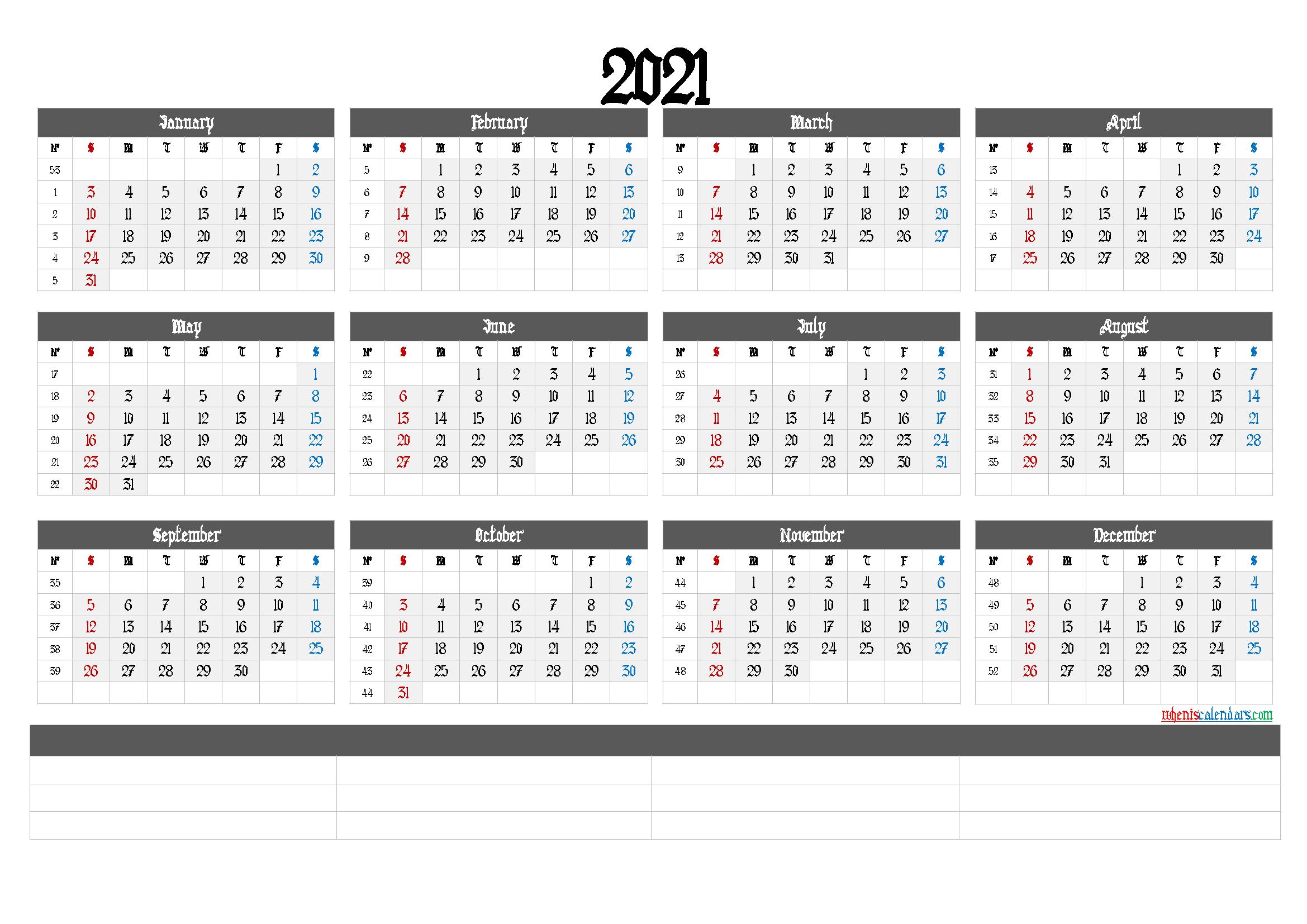 printable 2021 calendar with week numbers 6 templates