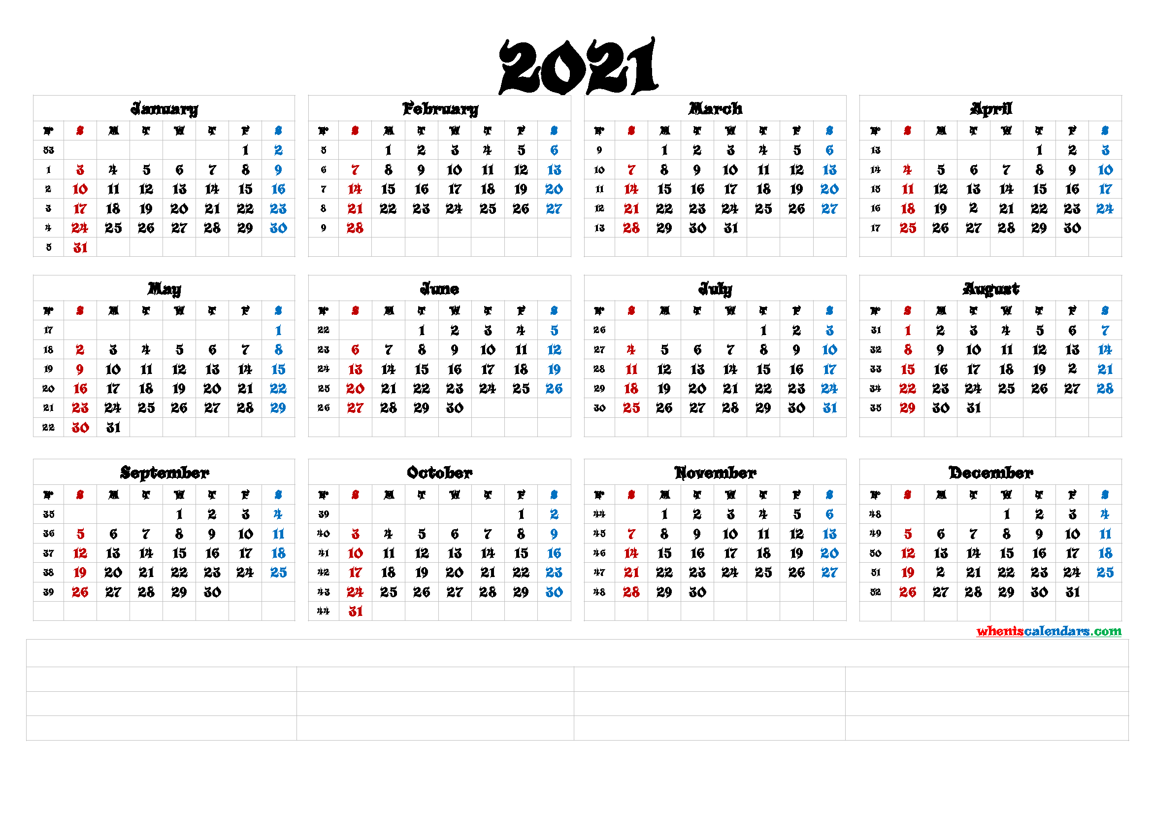 Printable 2021 Yearly Calendar With Week Numbers 6 Templates