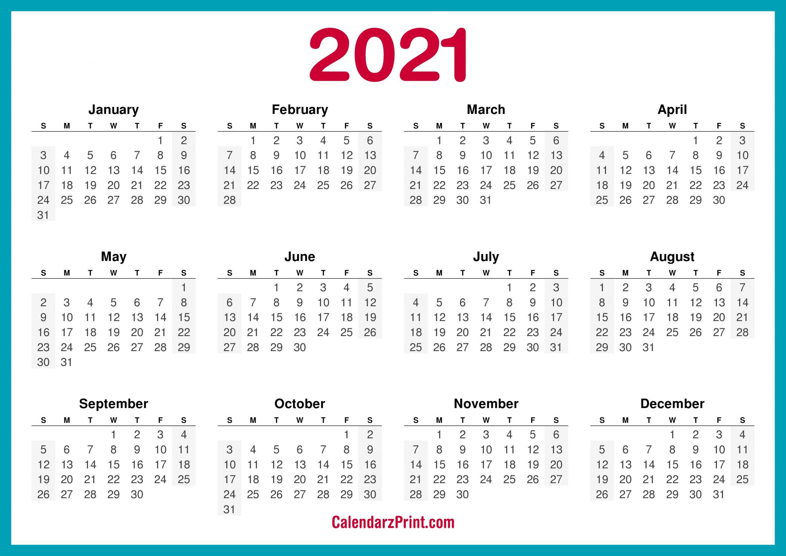 Printable 58 2021 Calendar Printable Calendar 2021