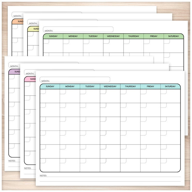 Printable Blank Calendar Bundle Monthly Full Pages 6 Etsy
