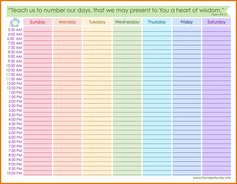 Printable Calendar With Hour Schedule Example Calendar