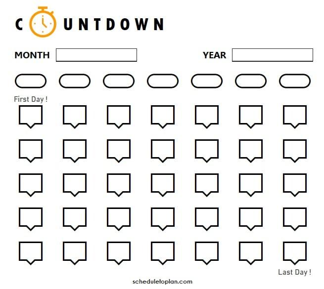Printable Countdown Calendar Template Birthday 2