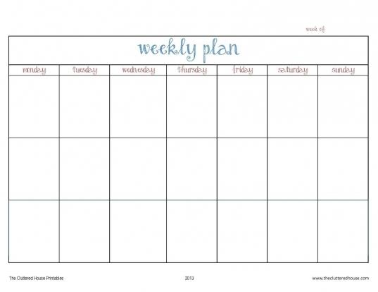 printable days of the week calender printable calendar