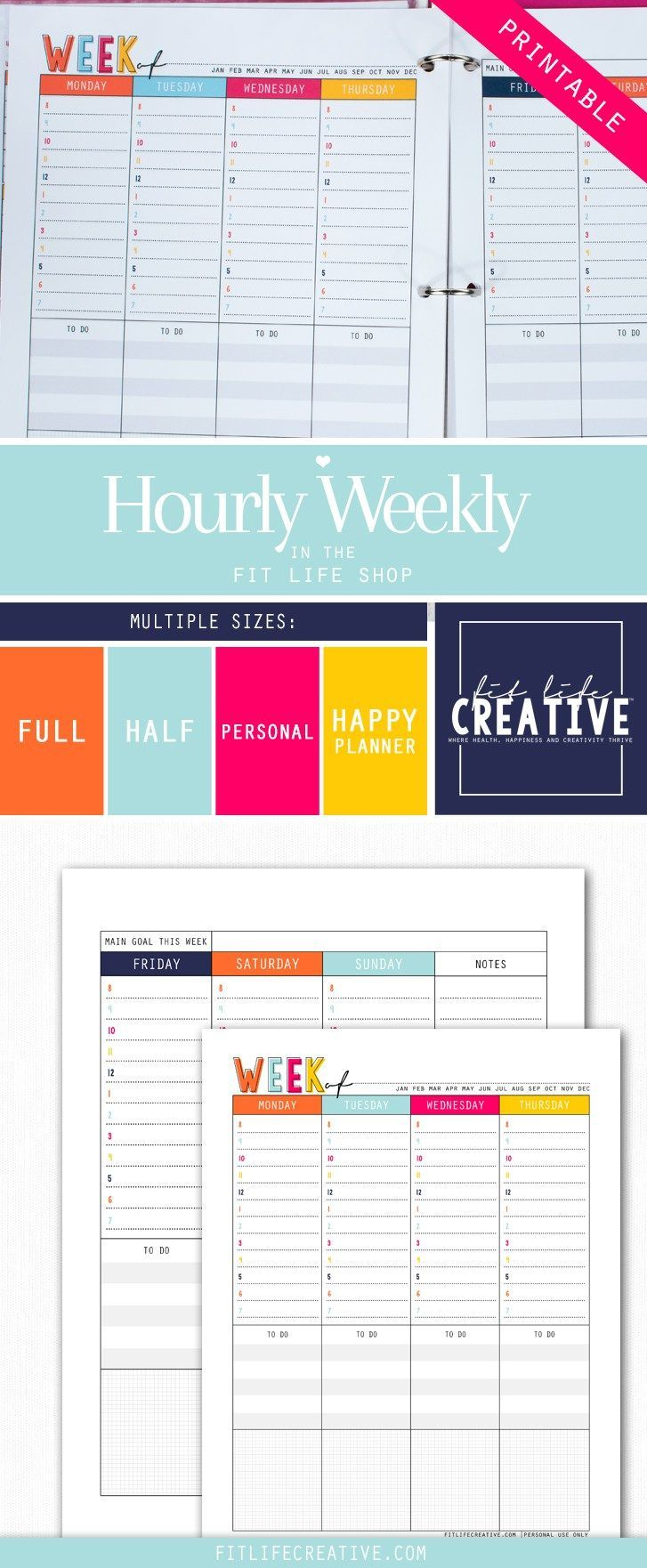 Printable Hourly Weekly Layout Planner Inserts To Map Out