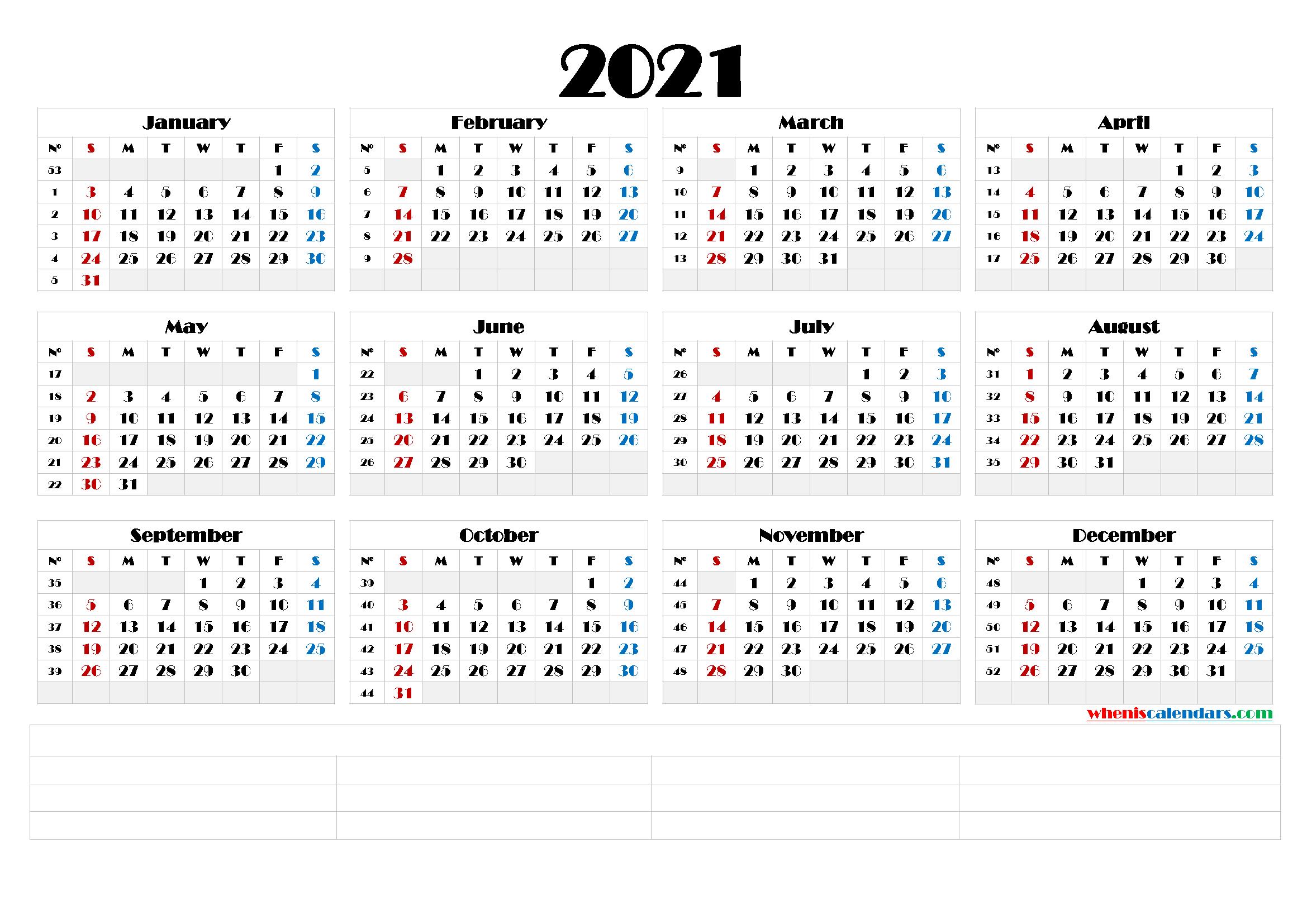Printable Monthly 2021 Calendar Template Word Printable