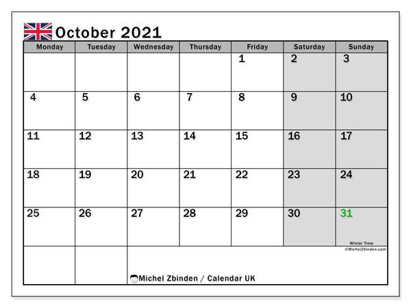 Printable October 2021 Uk Calendar Michel Zbinden En