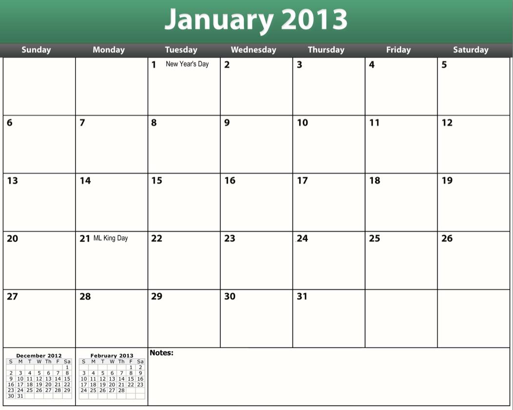 Printable Pdf 2013 Monthly Calendar