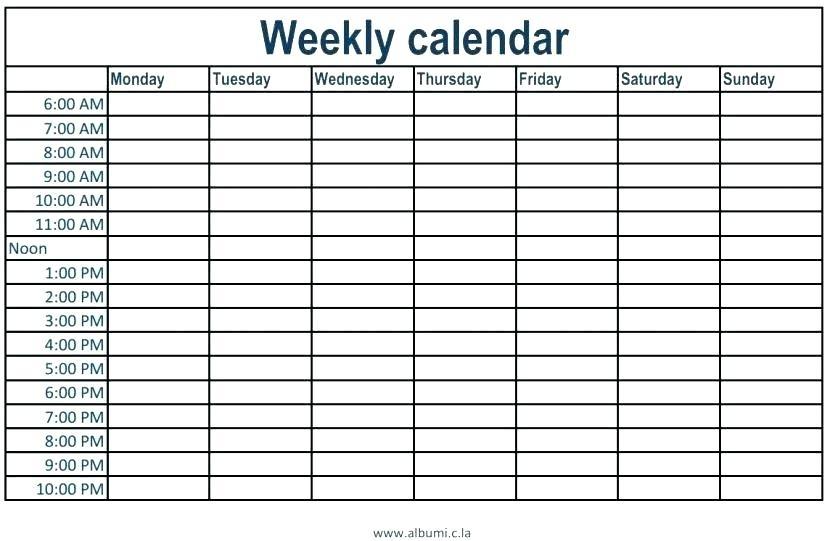 Printable Weekly Schedule With Time Slots Printable