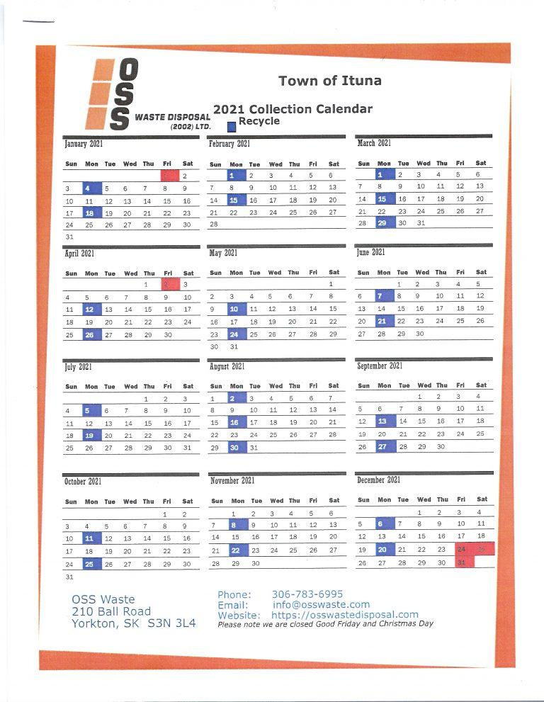 Recycling Calendar 2021 Town Of Ituna