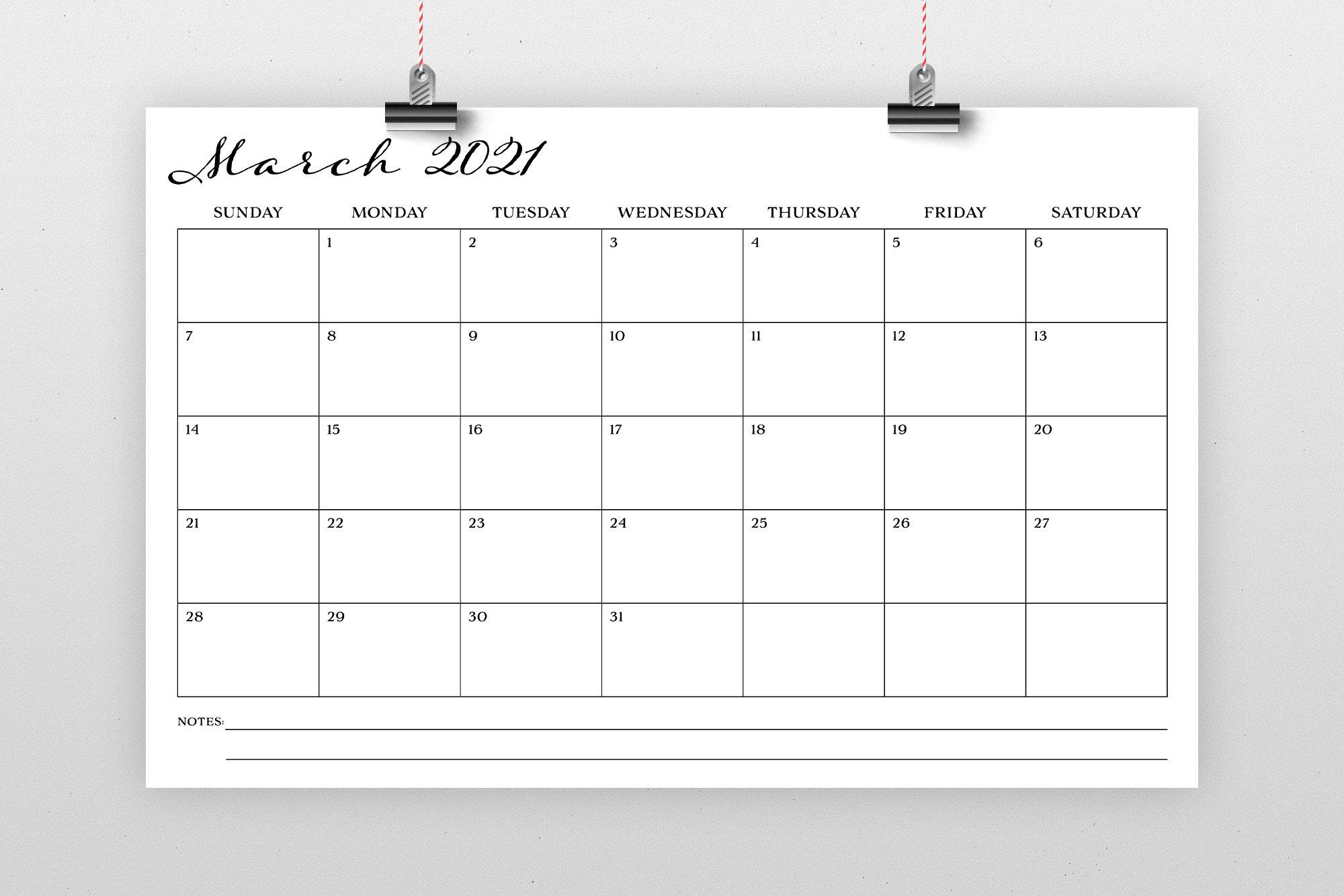 Sale 11 X 17 Inch 2021 Calendar Template Instant Download