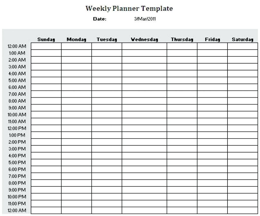 Schedule Template Printable Weekly Plannerhour Download
