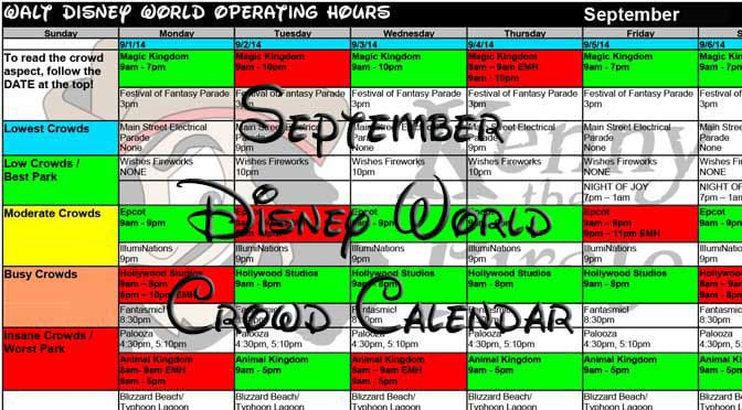 September 2017 Disney World Crowd Calendar Now Available