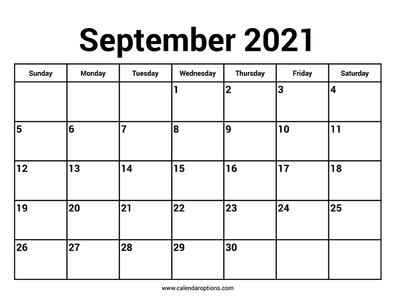 September 2021 Calendar Calendar Options