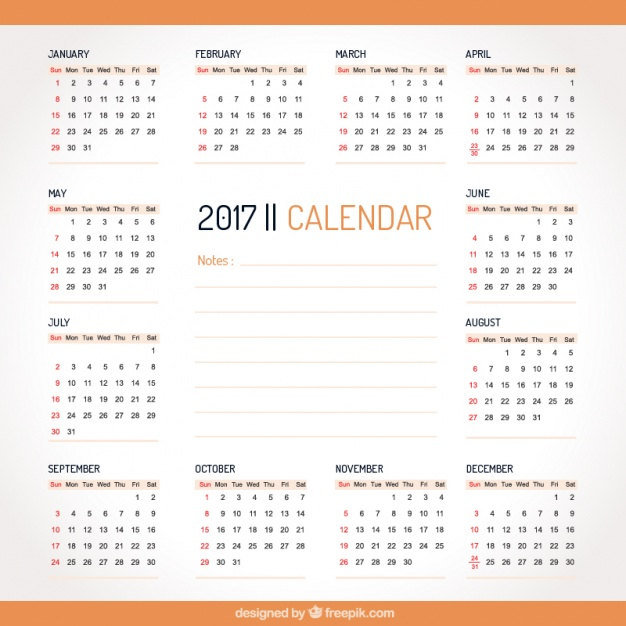 Simple 2017 Calendar With Orange Details Vector Free Download