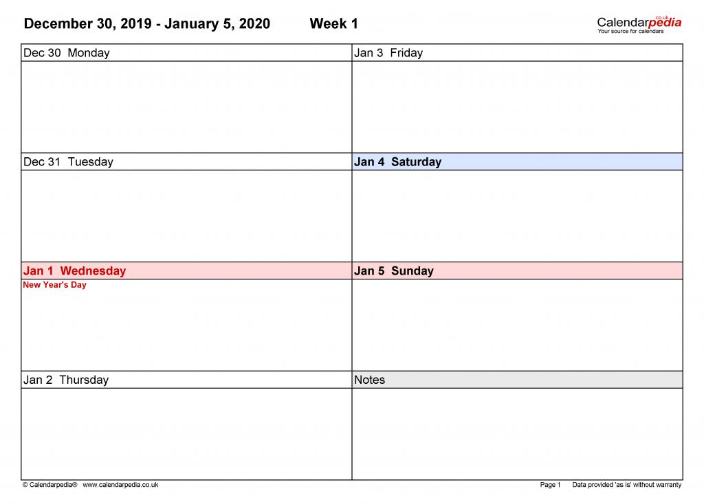 Six Week Calendar Printable Pdf No Weekend Calendar 1