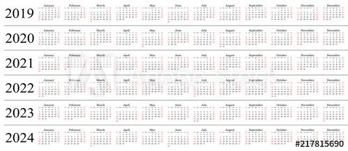 Six Year Calendar 2019 2020 2021 2022 2023 And 2024