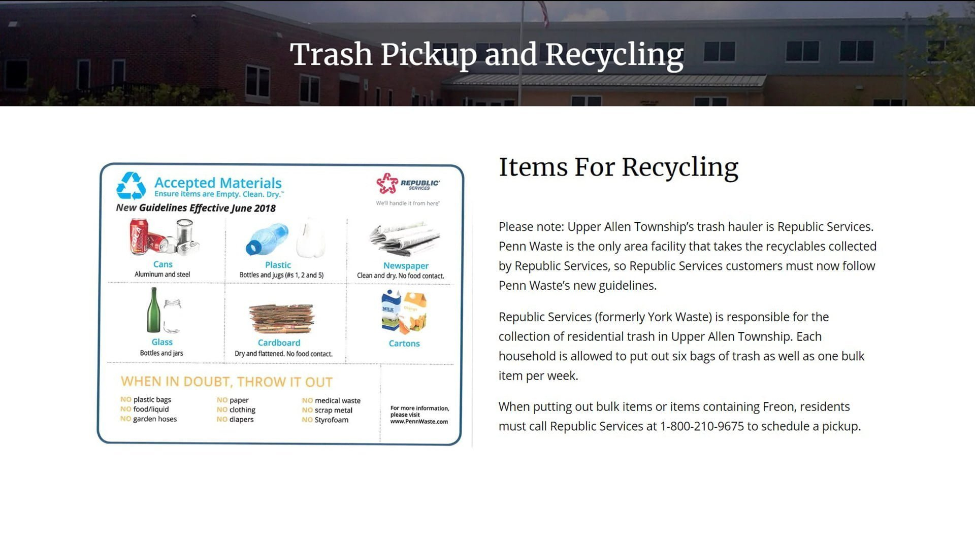 Trash Pickup And Recycling Upper Allen Township 1
