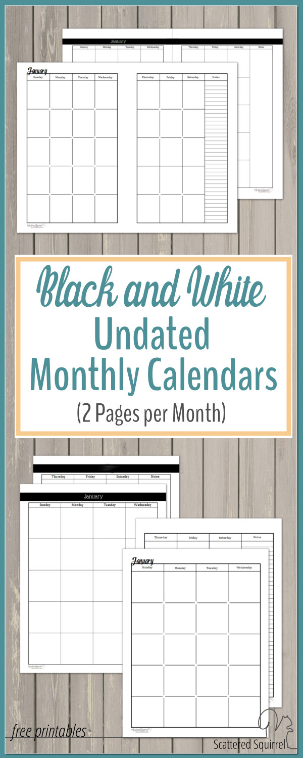 Undated Black And White Calendars Featuring Two Pages Per