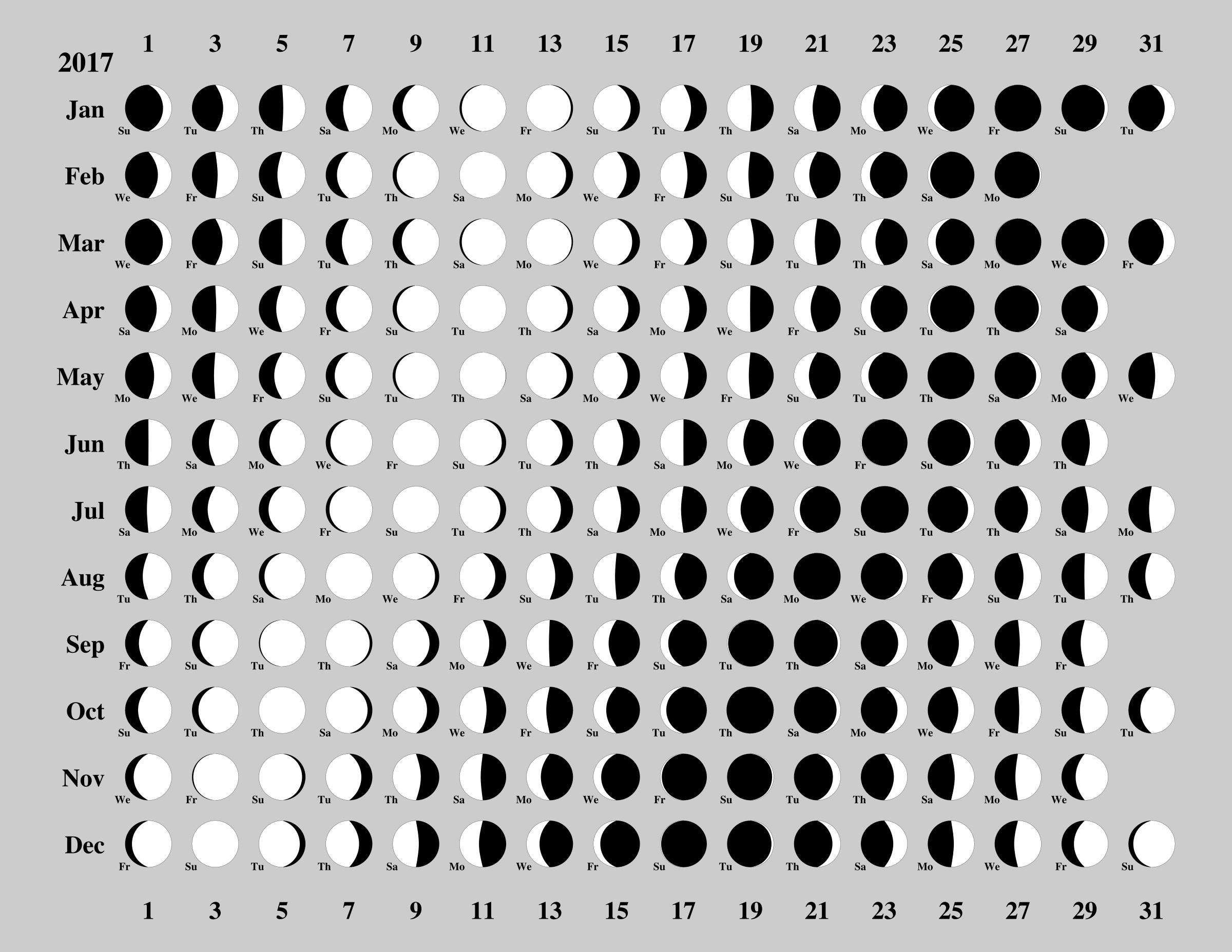 Unique Printable Moon Phase Calendar Calendar 2020