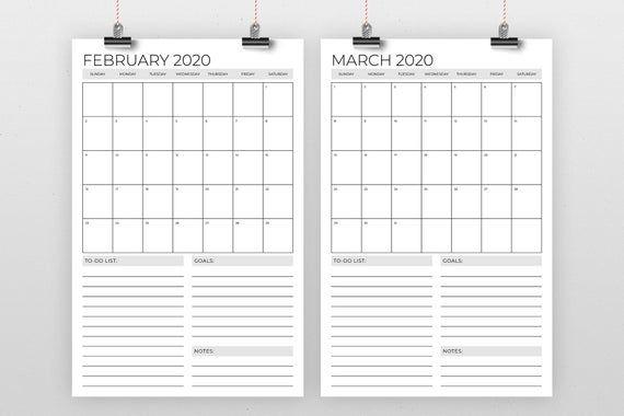 Vertical 11 X 17 Inch 2020 Calendar Template Instant 1