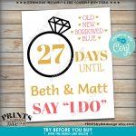 Wedding Countdown Sign Days Until They Say I Do Bridal