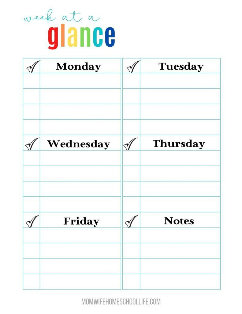 Week At A Glance Homeschool Planning Printables Free