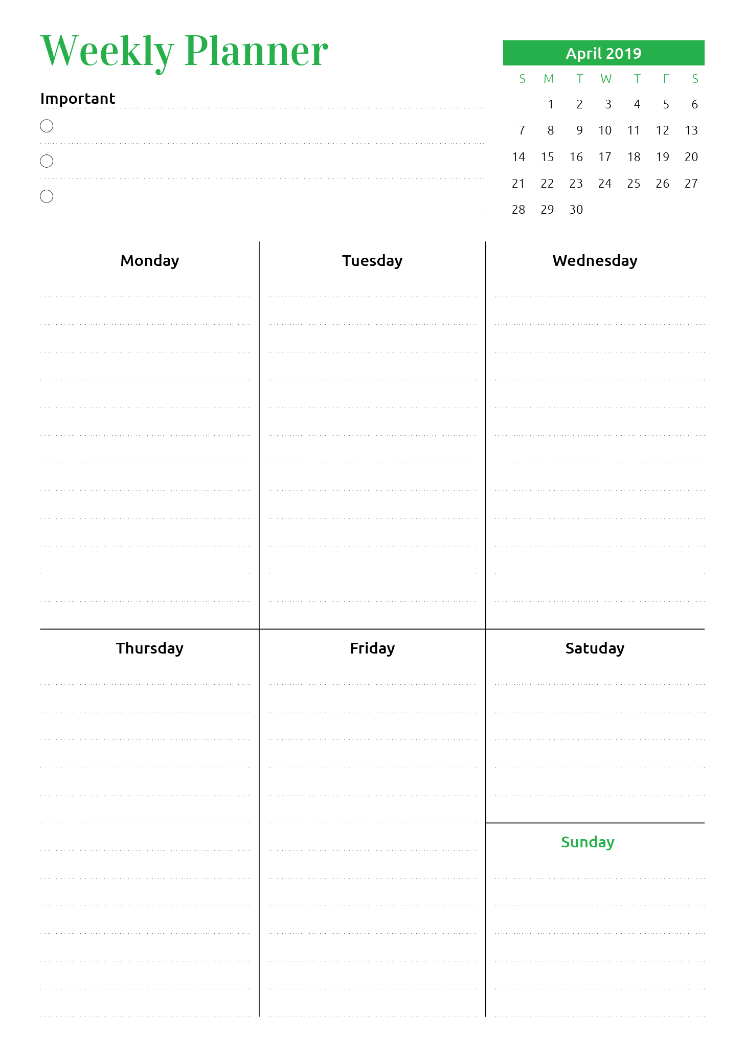 Week At A Glance Planner With Calendar At A Glance